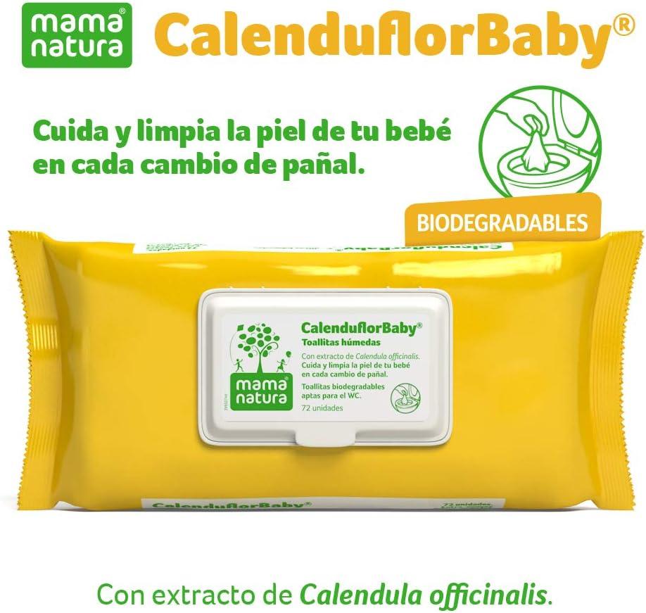 CalenduflorBaby® Toallitas húmedas Bebé Mama Natura®, Biodegradables con Extracto Calendula officinalis. 6 packs x 72 uds (432 unidades) - Aptas para el WC…: Amazon.es: Belleza