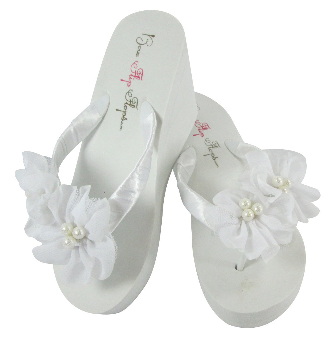 7cb5707f7 Amazon.com  Custom White Low Wedge Flip Flops Pearl Flowers