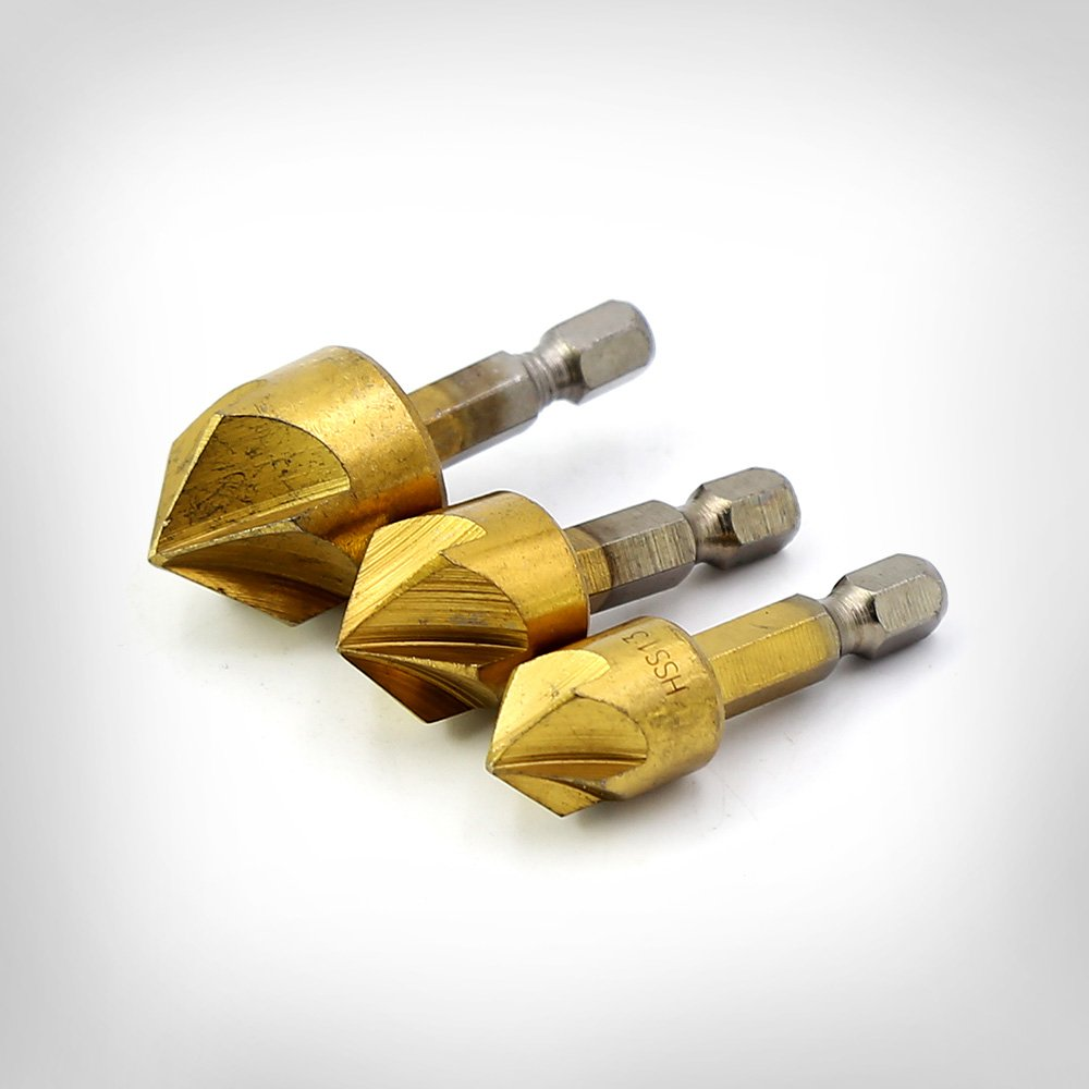 1//4 Hexagon shank HSS handle Countersunk drill hole 5 Flute Drill Set 90 degree for wood quick change bit 6mm-19mm H00820 Minher 6 pcs
