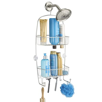 MDesign Bathroom Shower Caddy For Tall Shampoo Bottles, Conditioners, Soap    Extra Long,