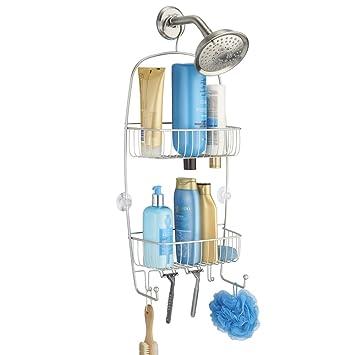 Amazoncom Mdesign Bathroom Shower Caddy For Tall Shampoo Bottles