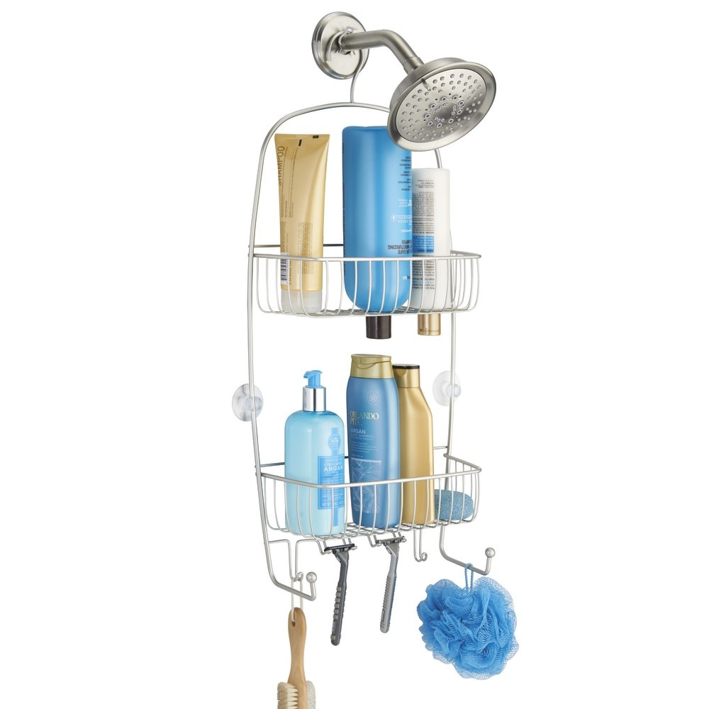 mDesign Bathroom Shower Caddy for Tall Shampoo Bottles, Conditioners, Soap - Extra Long, Satin