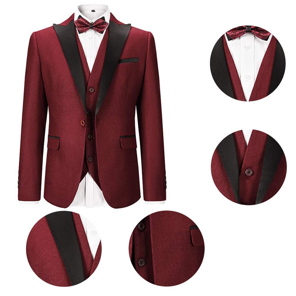 Sliktaa Costume Homme 3 Pièces Formel Slim Fit Classique Smoking de ... 1435ce11802