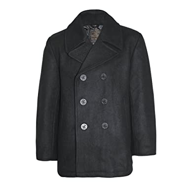 Mil-Tec US Navy Pea Coat Black at Amazon Men's Clothing store:
