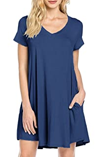0ee2e061cc TINYHI Women s Short Sleeve Pocket Casual Loose T-Shirt Basic Tunic Dress