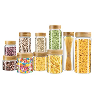 Weetall Kitchen Canisters,10-SET Glass Cans with Lids Sealed, Leak-free Food Jars Clear Color, Multiple Size Canisters for Sugar, Coffee, Cookies, Rice, Baking Supplies –Clear Glass with Bamb