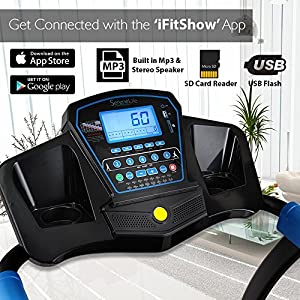SereneLife Smart Digital Folding Treadmill - Upgraded Electric Foldable Exercise Machine, Large Running Surface, 3 Manual Incline, 16 Preset Program Downloadable Sports App Running & Walking by SereneLife