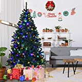 Goplus 6FT Pre-Lit Artificial Christmas Tree Auto-spread/ close up Branches 11 Flash Modes with Multicolored LED Lights & Metal Stand