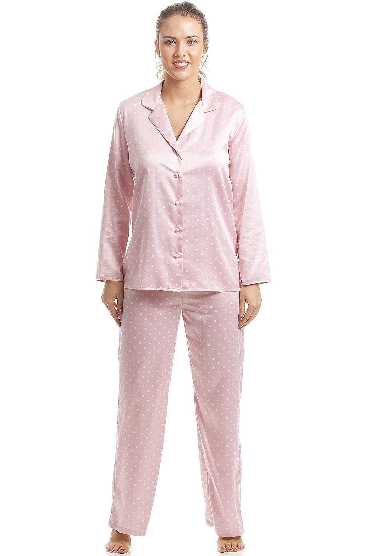 Damen Pyjama aus Satin - Lange Ärmel   Hose - Rosa mit weißen Pünktchen   Camille  Amazon.de  Bekleidung 435558c963
