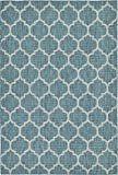 A2Z Rug Plan & Trellis Design Indoor / Outdoor .Teal 6' x 9'-Feet Area Rug - Garden, Pool Area, Camping, Yoga Mat, Picnic Carpet
