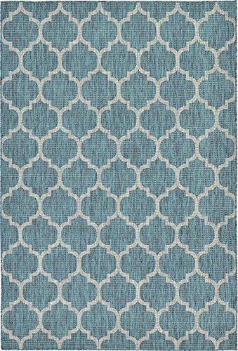 A2Z Rug Plan & Trellis Design Indoor / Outdoor .Teal 6' x 9'-Feet Area Rug - Garden, Pool Area, Camping, Yoga Mat, Picnic Carpet by A2Z Rug
