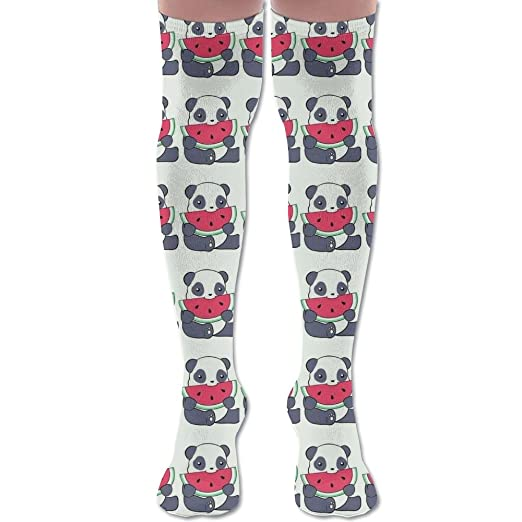 c27be1e9a19 Amazon.com  Funny Pandas Eat Watermelon Unisex Knee High Long Socks Boot High  Socks Length 60cm  Clothing