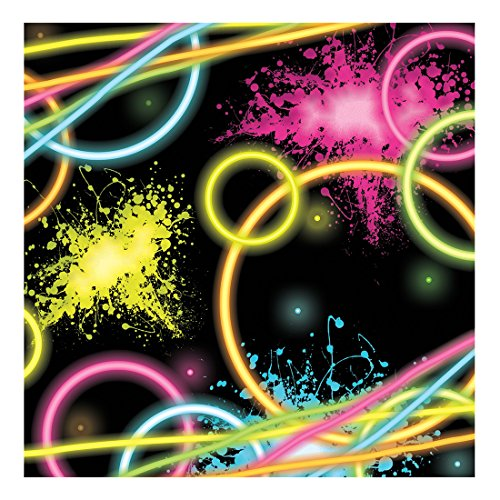 Creative Converting 318128 16-Count Paper Beverage Napkins, Glow Party, 5 x 5-inch, -