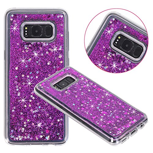 Galaxy S8 Case, Galaxy S8 Liquid Case, KAMII 3D Sparkle Moving Stars Bling Glitter Floating Dynamic Flowing Soft Rubber TPU Gel Rubber Clear Case Cover for Samsung Galaxy S8 (Purple)