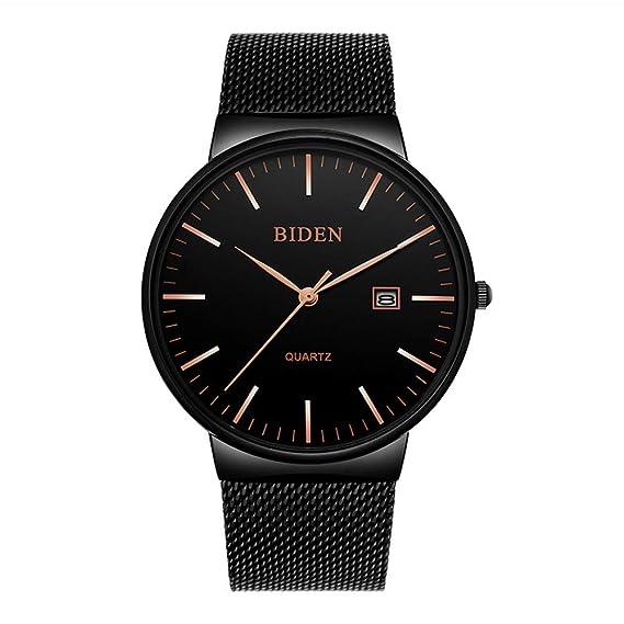 448432e1f334 Relojes Hombre Calendario con Correa de Malla de Acero Inoxidable Negro
