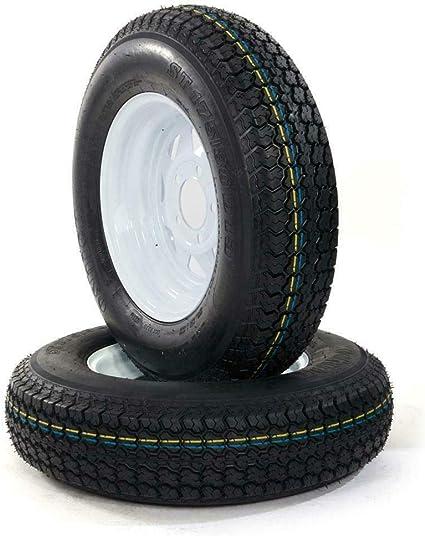 PARTS-DIYER 2 PCS 13 ST175//80R13 Tubeless Trailer Tires 5 Lug Wheel Silver Spoke Rims 6PR