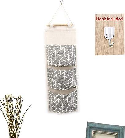 cuisine ou salle de bain Rangement /à suspendre sur une porte sac de rangement mural avec 3/poches /à utiliser dans une chambre