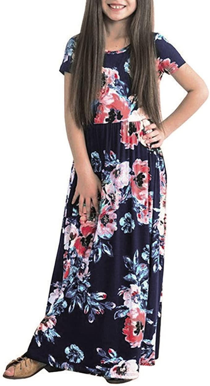TiTCool Girls Summer Short Sleeve Floral Printed Empire Waist Long Maxi Dress with Pockets Size 2-10Y