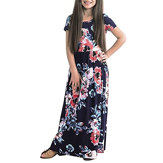 5846515db014 HOOYON Dresses Girl's Floral Printed Short Sleeve Casual Summer Long Maxi  Dress with Pockets Navy Blue