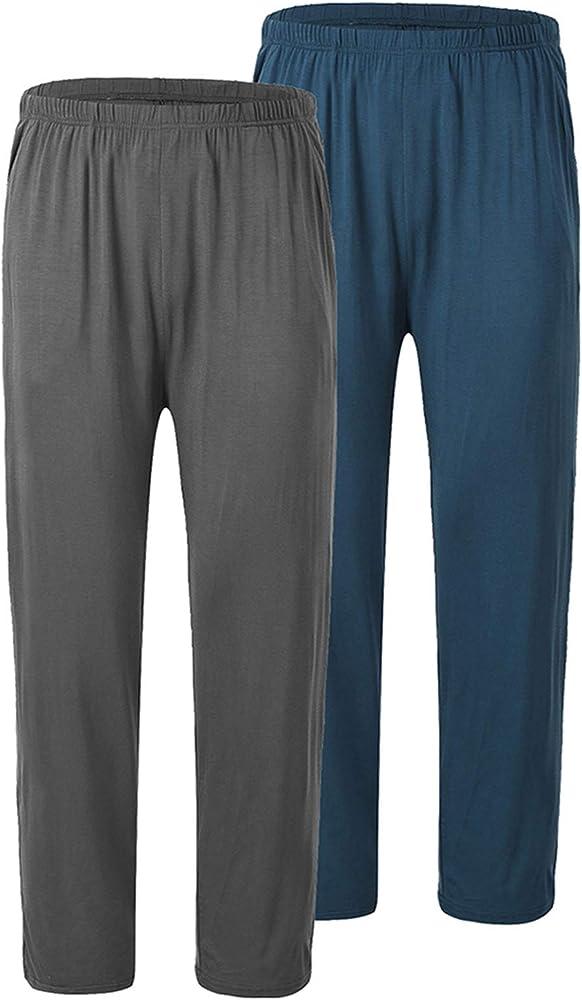 JINSHI Pantalones Largos de Pijama para Hombre Cómodo Pantalón de Estar de Modal con Bolsillos 2 Pack-Azul/Gris Oscuro X-Large: Amazon.es: Ropa y accesorios