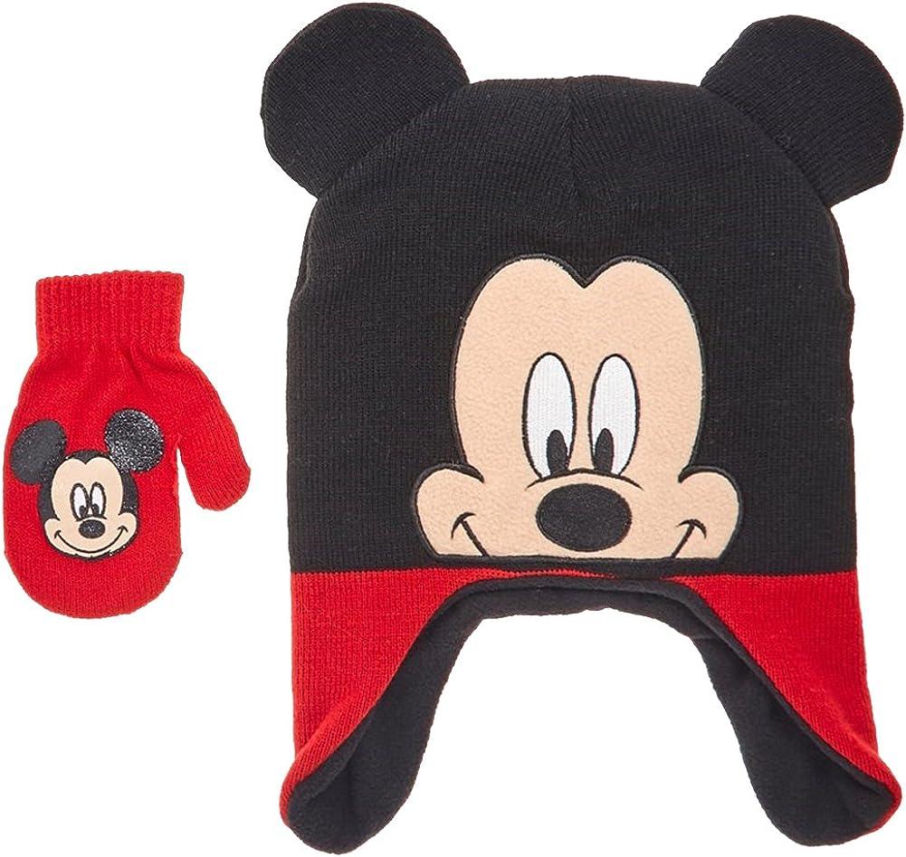 Disney Mickey Mouse Toddler Little Boys Winter Hat /& Mitten Set