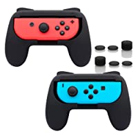Fyoung Joy-Con Grips for Nintendo Switch (2 packs), Wear-resistant Joy-con Handles for Nintendo Switch (Black)