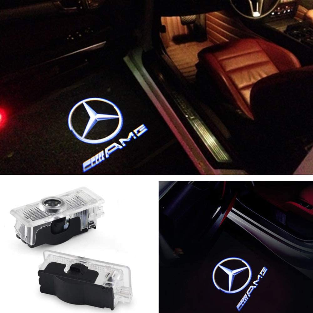 LIKECAR 2pcs Ghost Shadow Light Car Welcome Logo Door Light GLK-AMG