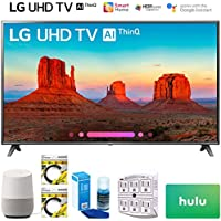 LG 86UK6570PUB 86 Class 4K HDR Smart LED AI UHD TV w/ThinQ 2018 Model (86UK6570PUB) with Google Home, 2x 6ft HDMI Cable, Screen Cleaner for LED TVs, 6-Outlet Surge Adapter & 100 Hulu PLUS Gift Card