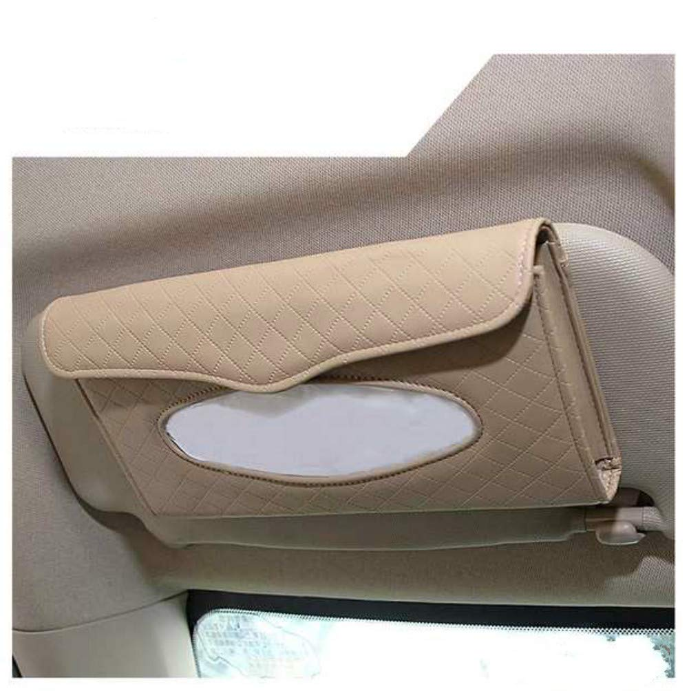 Beige Refill Paper Included SCTD Car Tissue Box Holder- PU Leather Van Truck Vehicle Napkin Cover for Backseat and Sun Visor 5559022360