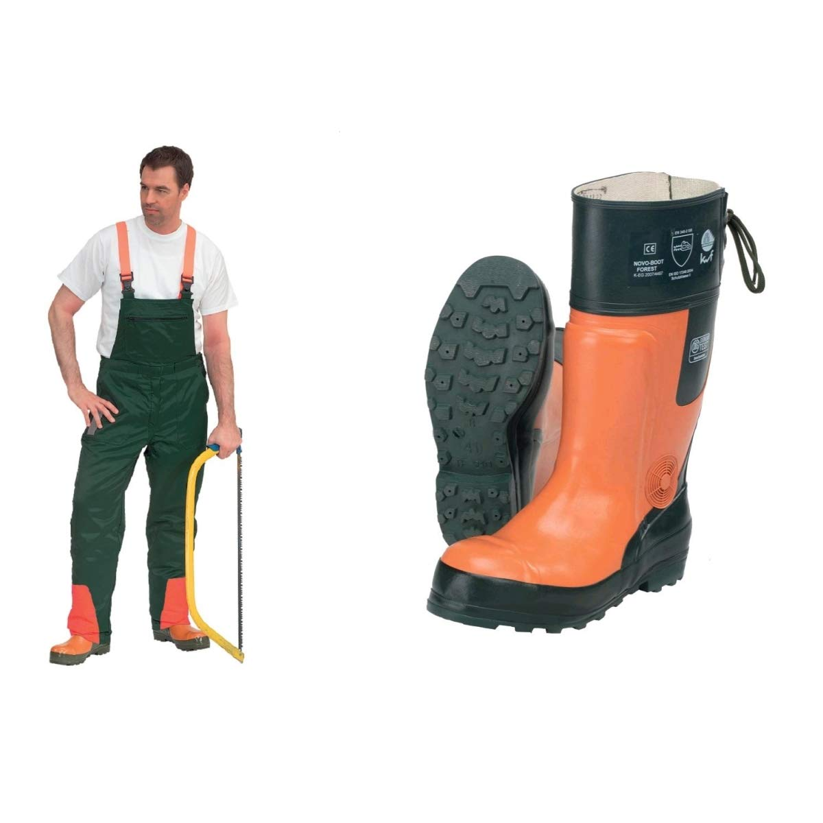 Gr/ün orange 2-piece cut protection set comprising KWF-tested forestry helmet and cut protection dungarees 1 26
