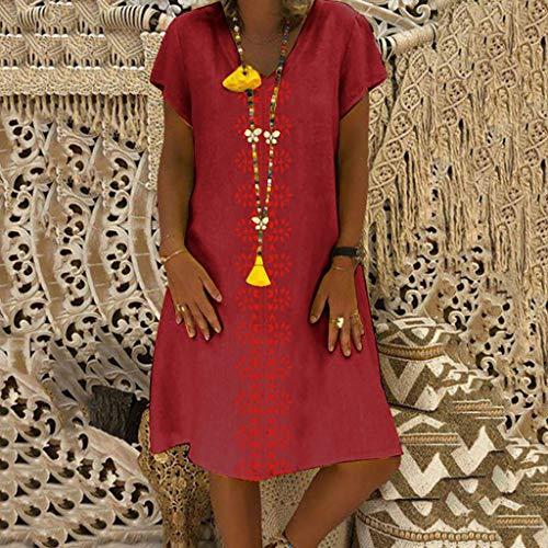 Pour Robe La Été Occasionnelles En Couleur Col Lin Plus Taille V Et Bellelove Des Imprimés Style Duvin vêtements nbsp;robe Dames Fruits Élégantes Coton Femmes wvqZwx0RBT