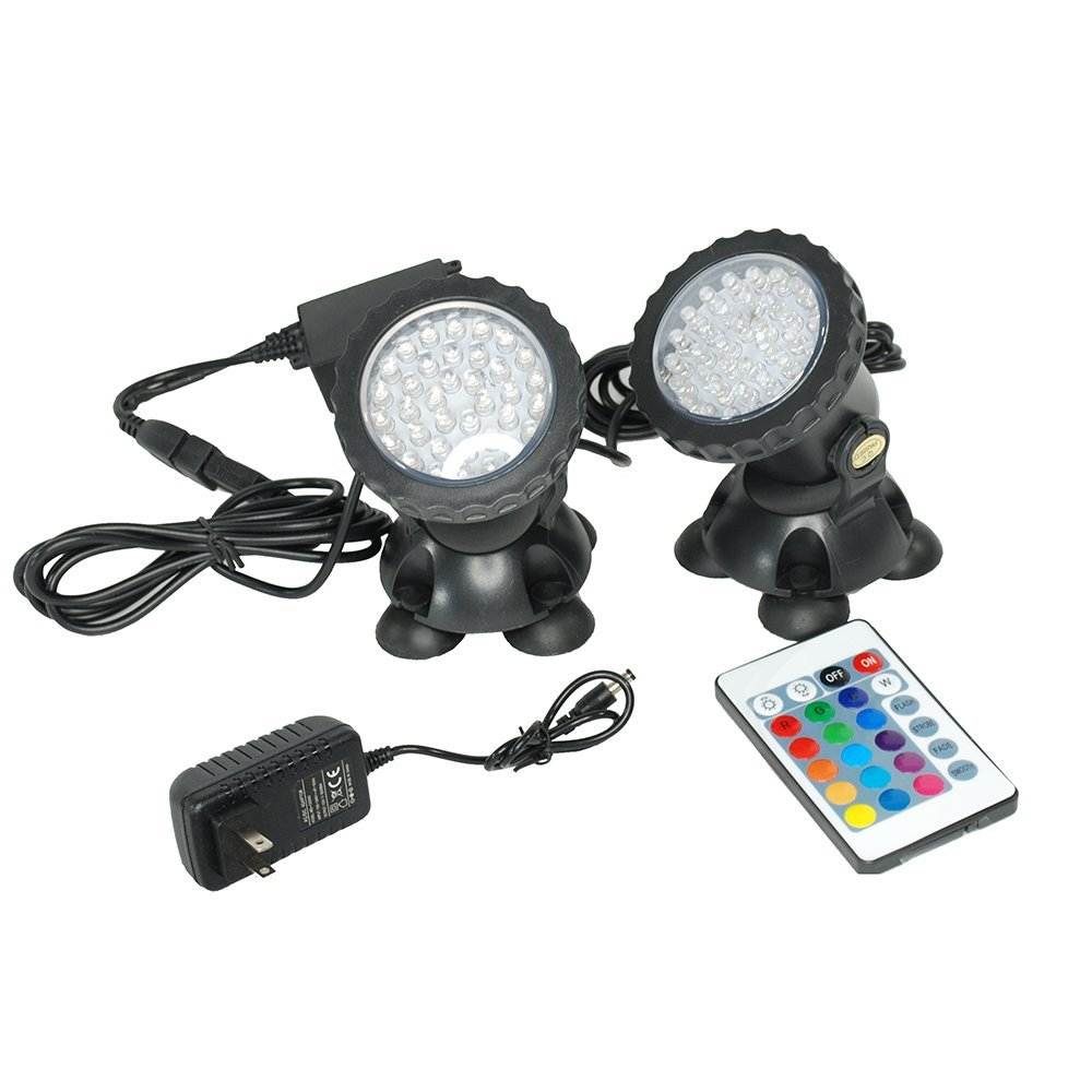 i-mesh-bean Set of 1/2 / 4 Colorful Underwater Garden Fountain Fish Tank Pool Pond Spot Light Submersible Decoration Color Changing Lamp + 24 Key Remote USA (Set of 2)
