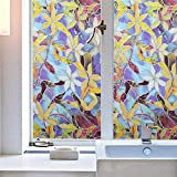 Jpettie Stained Glass Window Film Decorative Privacy Film European Style Privacy Window Film Static Cling Window Film Non Adhesive Privacy Film Home Living Room Kitchen Bathroom 17.7x78.7 inches