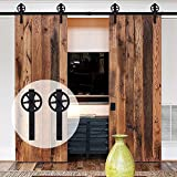 Double Door Sliding Barn Door Hardware Track Kit Basic Big Black Spoke Wheel Roller System 8FT /96'' 2 Doors Track Kit