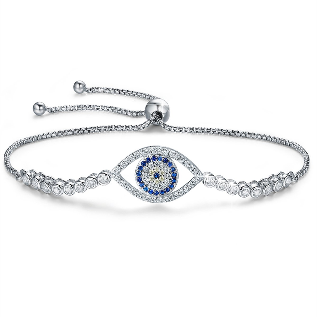 BAMOER 925 Sterling Silver Expandable Lucky Blue Evil Eye Chain Bracelet with Sparkling Cubic Zirconia for Women Girls Style 6