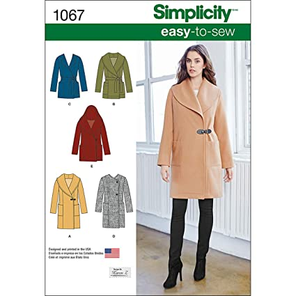 0c7149558 Simplicity 1067 Learn to Sew Winter Coat and Jackets Sewing Pattern for  Women, Sizes 6-14