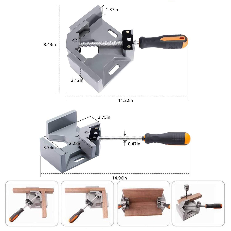 menuiserie bois ou aluminium Aluminium avec poign/ée ajustable. Pince /à angle droit Yooap Serre-Joint /à Angle Droit /Étrier dangle de 90 degr/és pour soudure