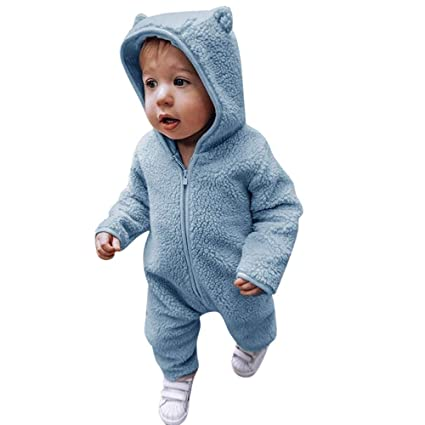 53c8eefae724 Franterd Baby Boys Girls Wither Romper Kids Lovely Animal Ear Thick Fluffy  Warm Hooded Onesie Jumpsuit