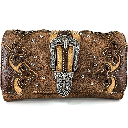 Wallets Western Womens - Justin West Laser Cut Rhinestone Silver Buckle Studded Cross Shape Design Wristlet Trifold Wallet Attachable Long Strap (Brown)