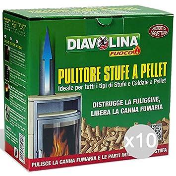 Set 10 DIAVOLINA Pellet Deshollinador Kg 1, 5 Barbacoas Y Chimeneas: Amazon.es: Jardín