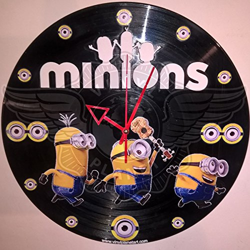 DIY MINIONS Decorative Designed Modern Vinyl Record Wall Clock Silent Large New Bedroom Livingroom Office Decore Analog Universal Decorate your home Best gift idea for childrens