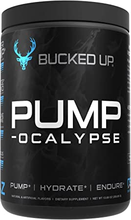 Pump-ocalypse - Nitric Oxide Supplement with L Arginine, Citrulline Malate, GlycerPump - Ultimate N.O. Booster and Lean Muscle Builder for Blood Flow, Vascularity, Hydration and Endurance - Blue Raz