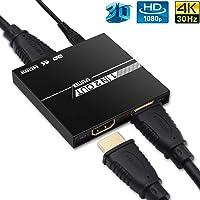 HDMI Splitter 1 In 2 Out, edola Aluminium Ver1.4 HDCP, 4K 1x2 HDMI Splitter Ondersteunt 3D 4K @ 30Hz Full HD1080P voor…