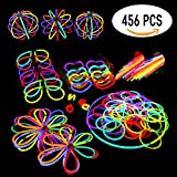Glowsticks Glow Sticks Party Favors Pack. 200 8'' Glow Sticks Bracelet Mixed Colors + Connectors for Glow Necklace, Flowers, Balls, Eye Glasses and Glow Rings, 456 PCS of Glow in The Dark