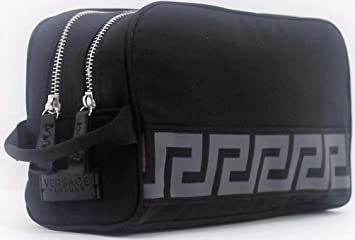 DESIGNER MENS BLACK TOILETRY BAG VERSACE WASH TRAVEL BEAUTY WEEKEND CASE.  TOP QUALITY. NEW f16ad15e4d