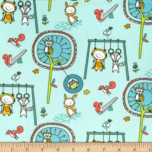 - Michael Miller Minky Let's Play Playground Pals Fabric, Aqua, Fabric By The Yard