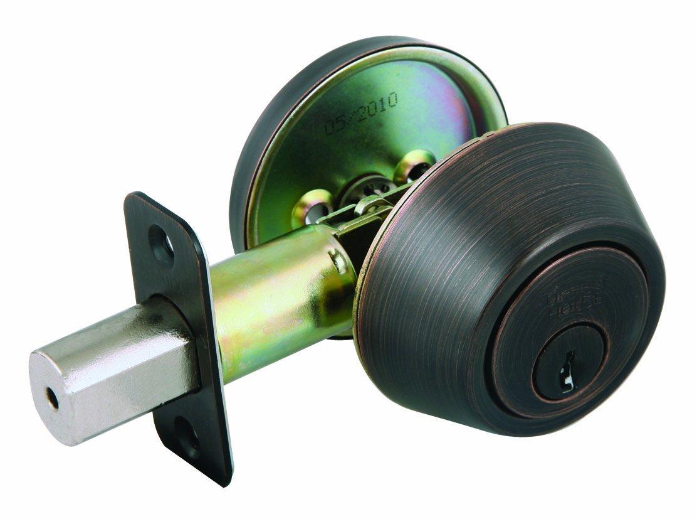 Design House 702456 Single Cylinder 2-Way Adjustable Deadbolt, Brushed Bronze