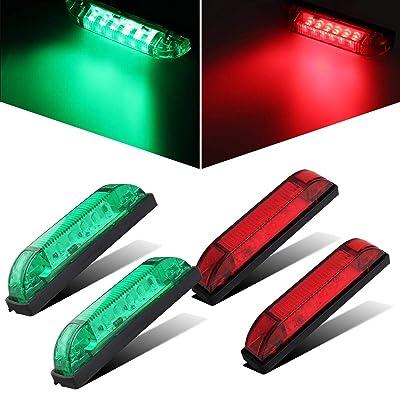 "NPAUTO 4"" Marine Led Utility Strip Light Red & Green Utility Light Bar Waterproof LED Boat Navigation Light Trailer Lights Marine Led Marker Lights Clearance Lamps: Automotive"
