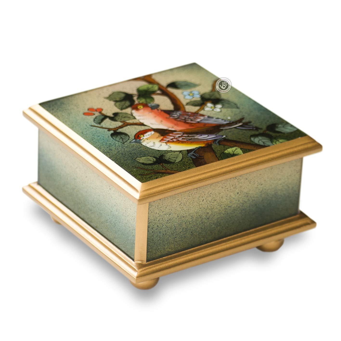 Peruvian glass Jewellery box, Handmade Jewellery box - Painted glass jewelery boxes, Peruvian handmade jewelry box, Gift for women, little birds' little birds'