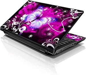 "LSS 15 15.6 inch Laptop Notebook Skin Sticker Cover Art Decal Compatible with 13.3"" 14"" 15.6"" 16"" HP, Dell, Lenovo, Apple, Asus, Acer (Free 2 Wrist Pad Included) - Floral Purple Butterfly"